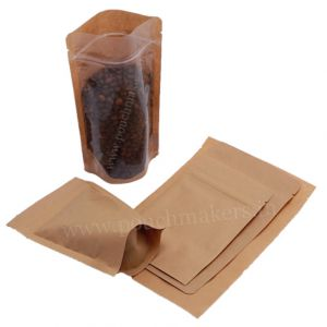 Clear / Brown Paper Stand Up Pouch with Zipper