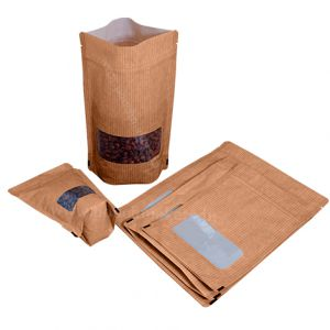 Kraft paper look SUP Pouch With Zipper-70gm ( 110mm (w) x 170mm (h) x {35mm + 35mm} (bg) )-Brown Kraft Paper look striped